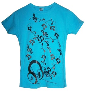 Image of Headphones Blue T Shirt