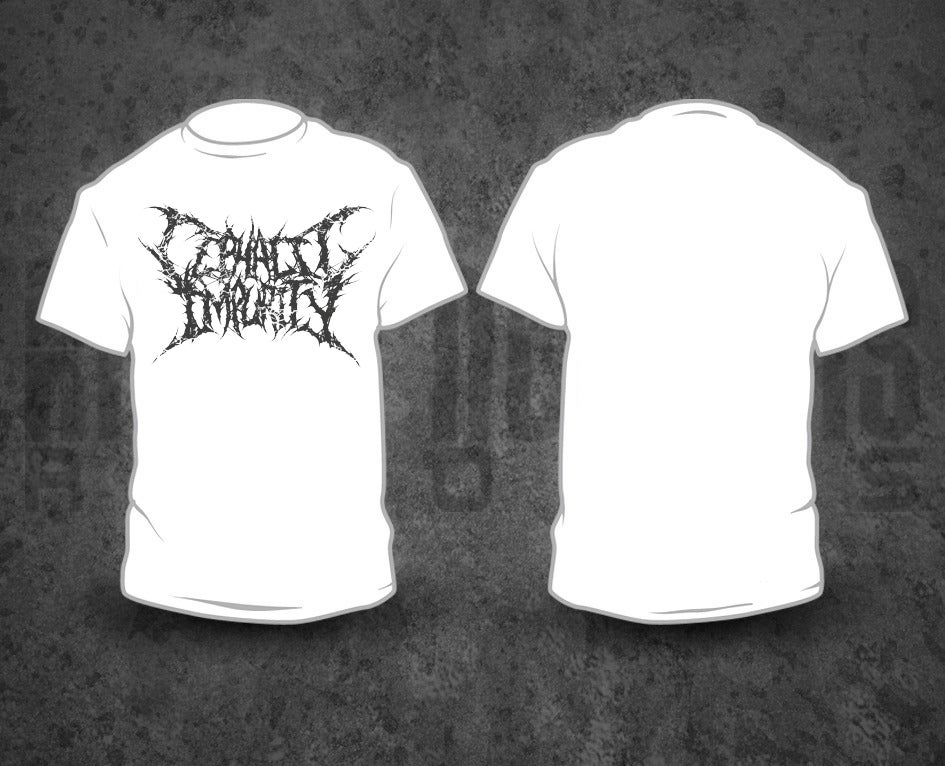 Image of CEPHALIC IMPURITY - Grey Logo / White T-Shirt