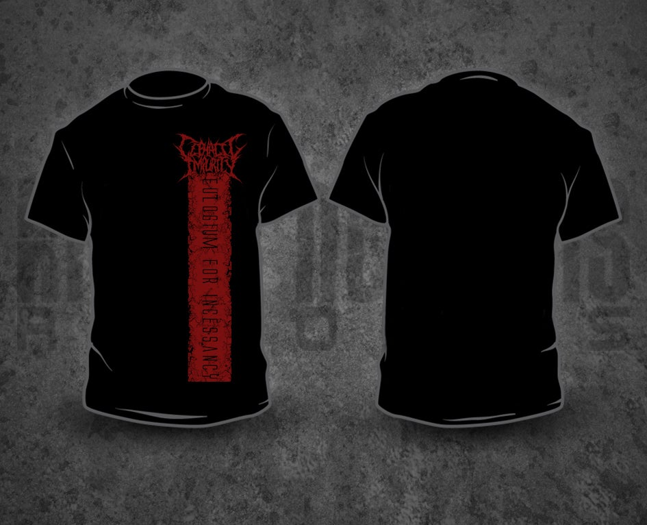 Image of CEPHALIC IMPURITY - Red Pile / Black T-Shirt