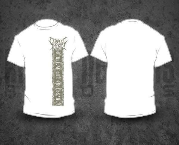 Image of CEPHALIC IMPURITY - Grey Pile / White T-Shirt