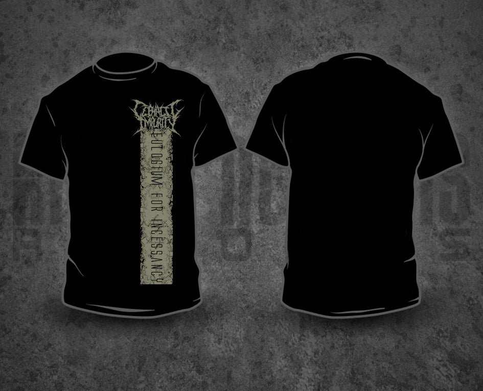 Image of CEPHALIC IMPURITY - Grey Pile / Black T-Shirt