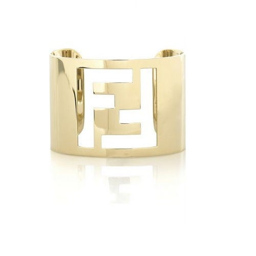 Image of SOLD OUT Fendi Logo Cuff Bracelet - RARE TO FIND! YELLOW GOLD COLOR