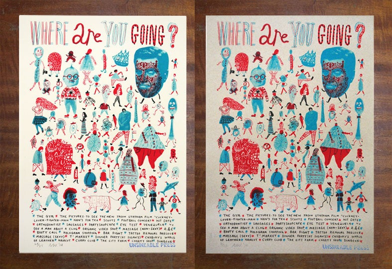 Image of 'Where Are You Going? - Screenprint A3