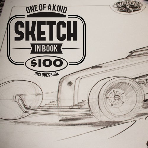 Image of The Hot Rod Art book: MOCS Vol 2 Custom Sketch in book