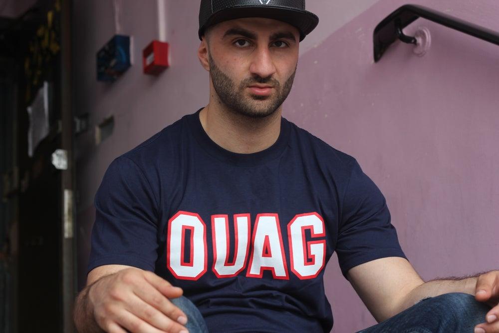 """Image of Navy """"OUAG"""" initals t-shirt"""