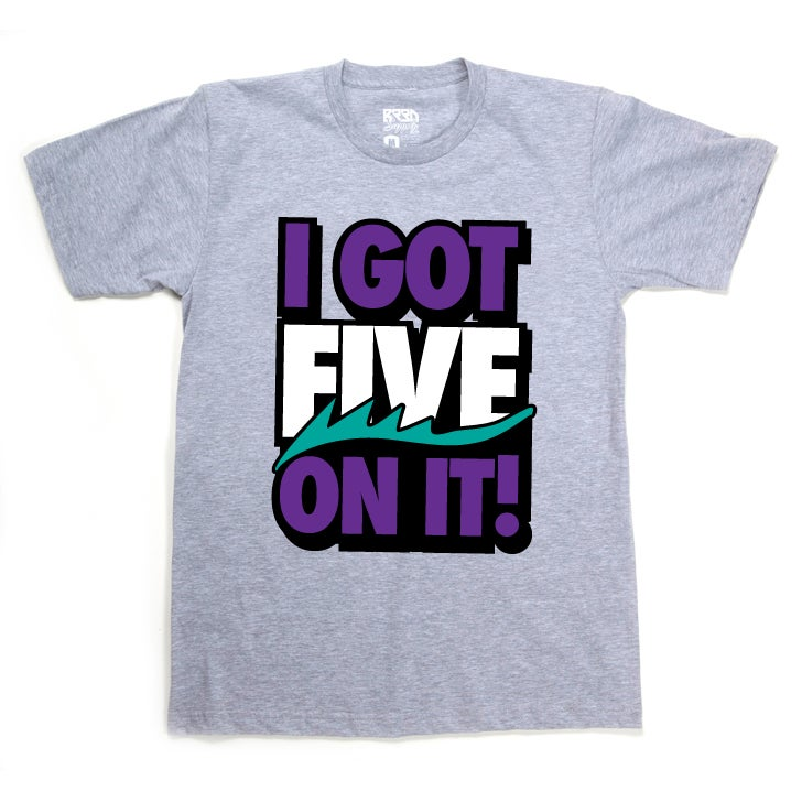 "Image of ""FIVE on it"" T - Grape - Grey"