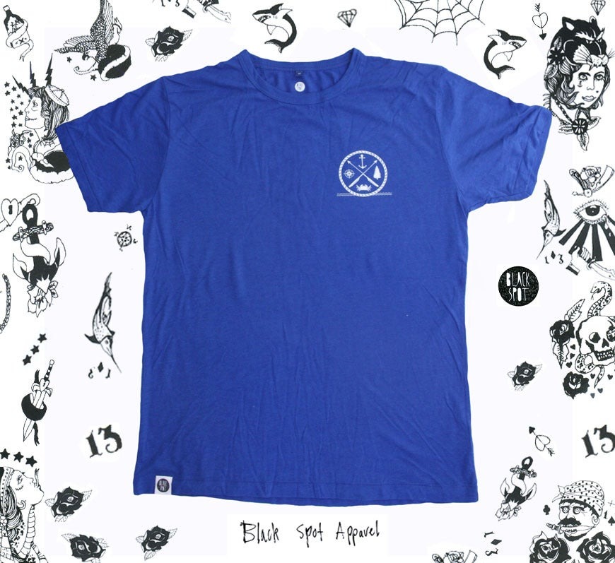 Image of MENS ROYAL BLUE BAMBOO T-SHIRT (Large graphic on the back)