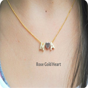 Image of Tiny Initial Love Necklace in Gold or Silver Capital Letter