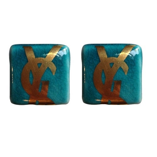 Image of SOLD Yves Saint Laurent YSL Glass Square Logo Earrings
