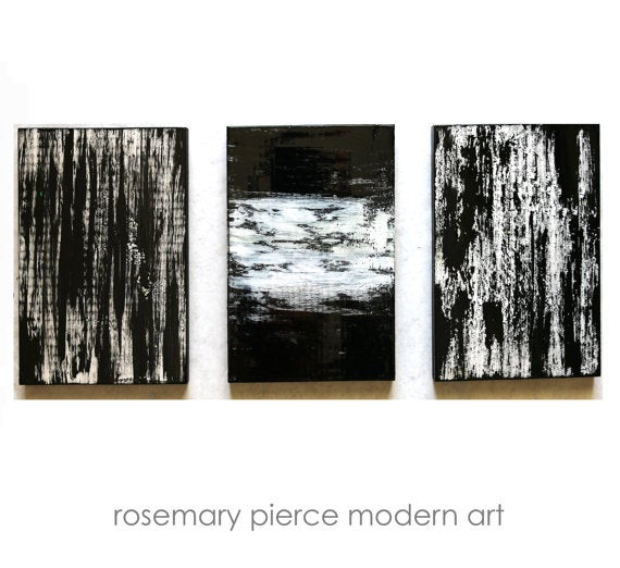 image of black and white wall decor huge triptych painting wood wall art u0027