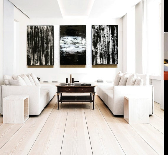 Image Of Black And White Wall Decor | Huge Triptych Painting | Wood Wall Art  ...