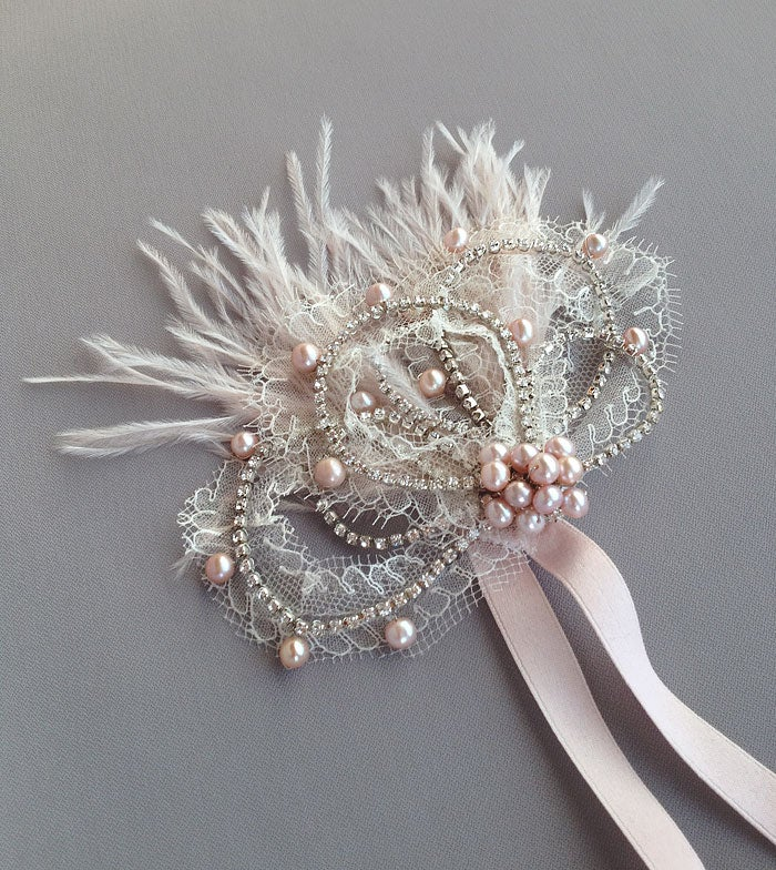 Image of Mabel Blush Feather and Pearl Flapper Inspired Lace Rhinestone Bridal Wedding Hairpiece