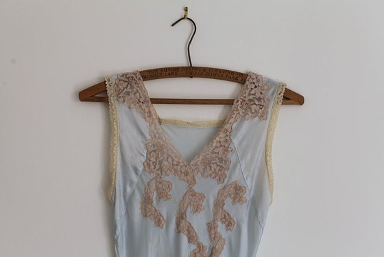 Image of 1930s ice blue satin slip dress