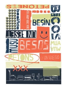 Image of PETONS - BESOS - KISSES - SOUVENIR DE BARCELONA POSTER