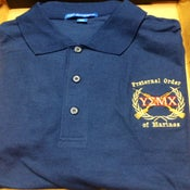 Image of YEMX POLO BLUE/ Crossed Rifles and Fraternal Order of Marines Printed