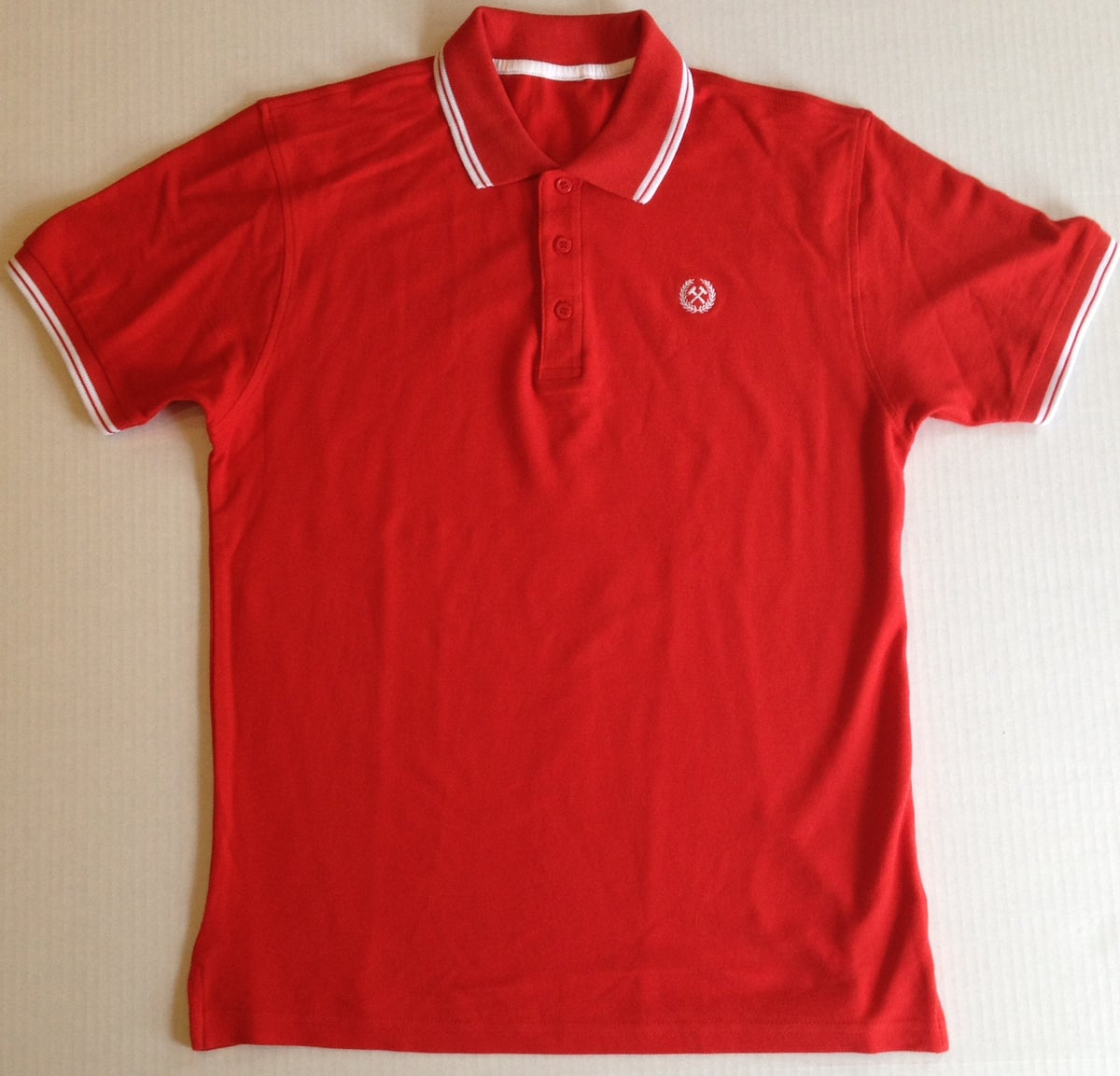Working stiff polo red white fight to live clothing for Union made polo shirts