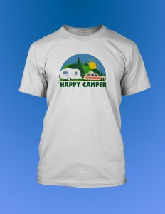 Image of Happy Camper T-Shirt with Casita Travel Trailer