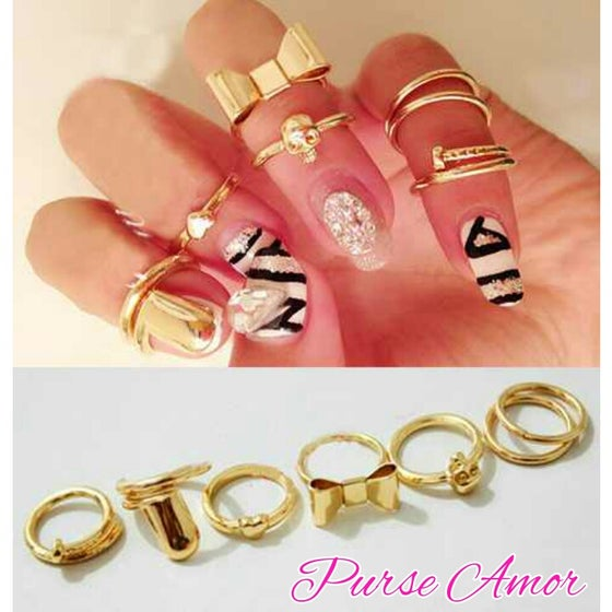 "Image of ""I Heart You Not"" 7pcs Variety Chic Knuckle Rings"