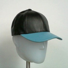 Image of 2 Tone Leather Cap - Sky Blue