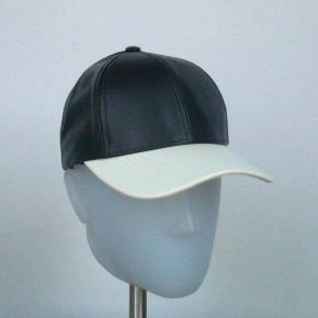 Image of 2 Tone Leather Cap - Snow White