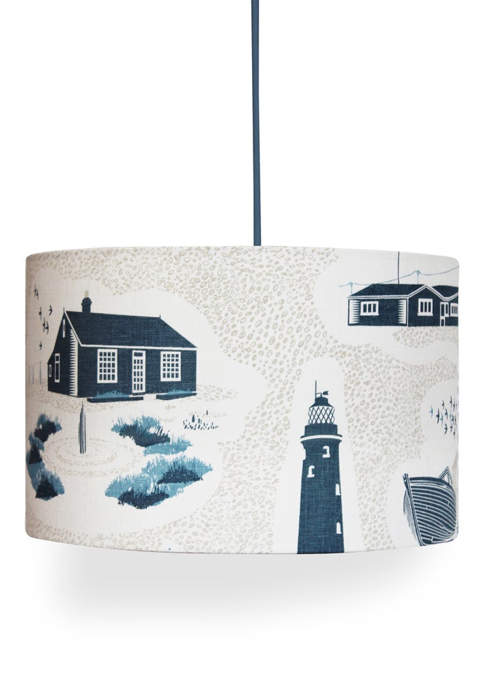 Image of Dungeness Linen Lampshade - Washed Denim