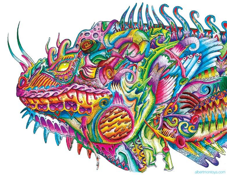 """Image of Original """"Iguana in Armor"""""""