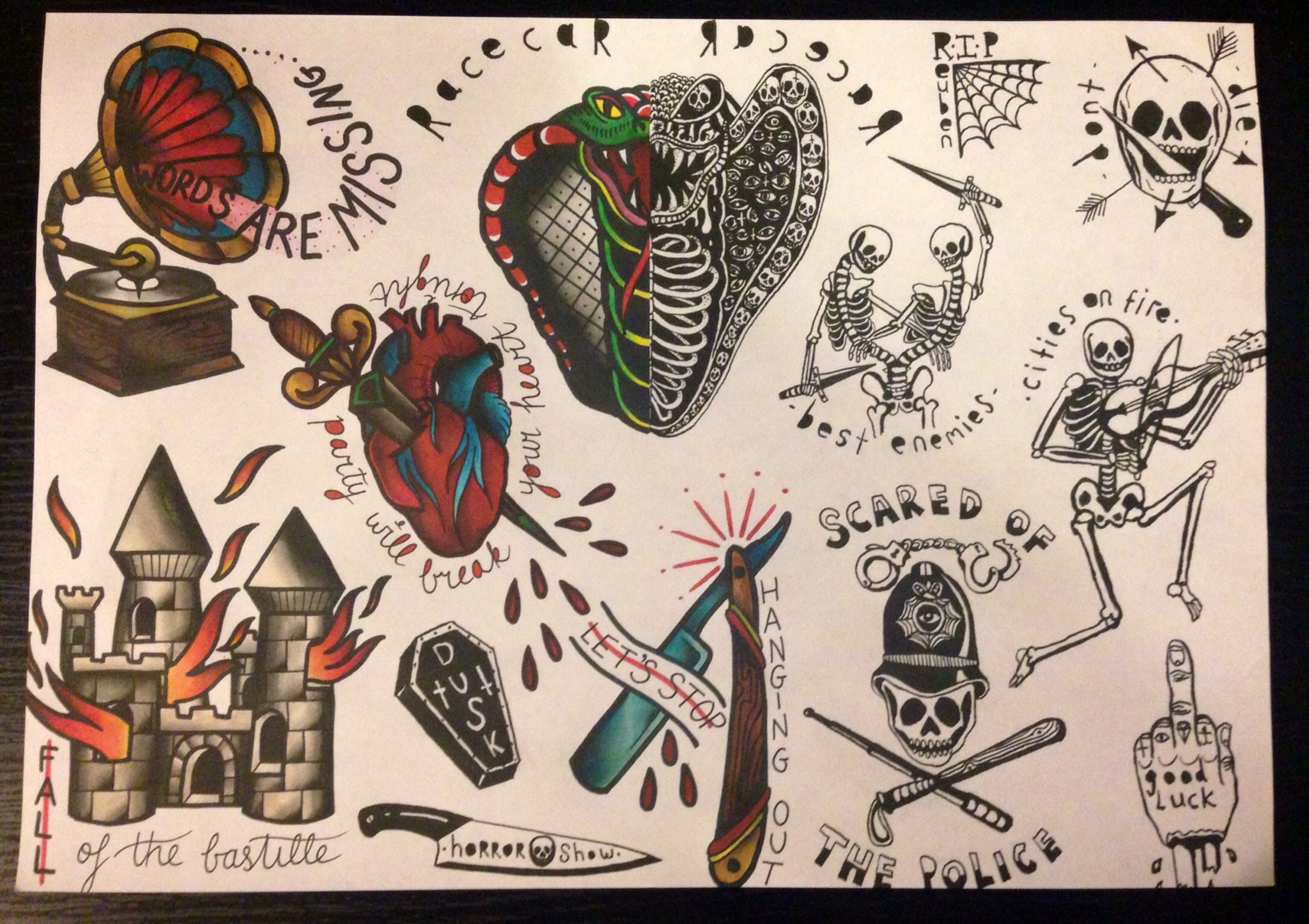 Jennamcaleese Reuben Tattoo Flash Designs Print A3