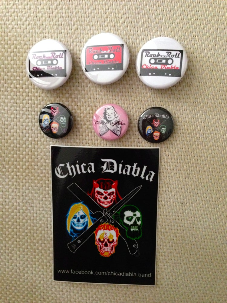 Image of Chica Diabla Buttons and Stickers