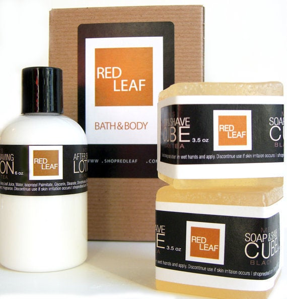 Image of Mens Shaving Soap Gift Box Set With Shaving Soaps & After Shave Lotion Balm