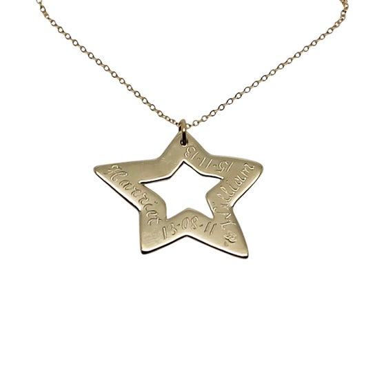 Image of Engraved 9K Yellow Gold Star Necklace