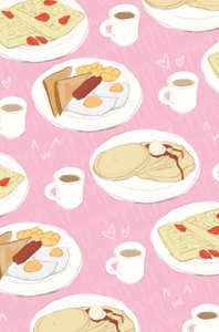 Image of Cute Breakfast Pattern Print