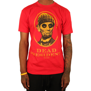 Image of Dead Presidents Tee (Red/Gld)