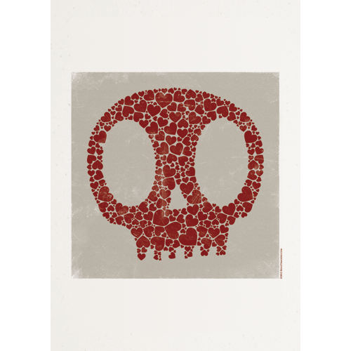 Image of Skull Of Hearts - A3 Print