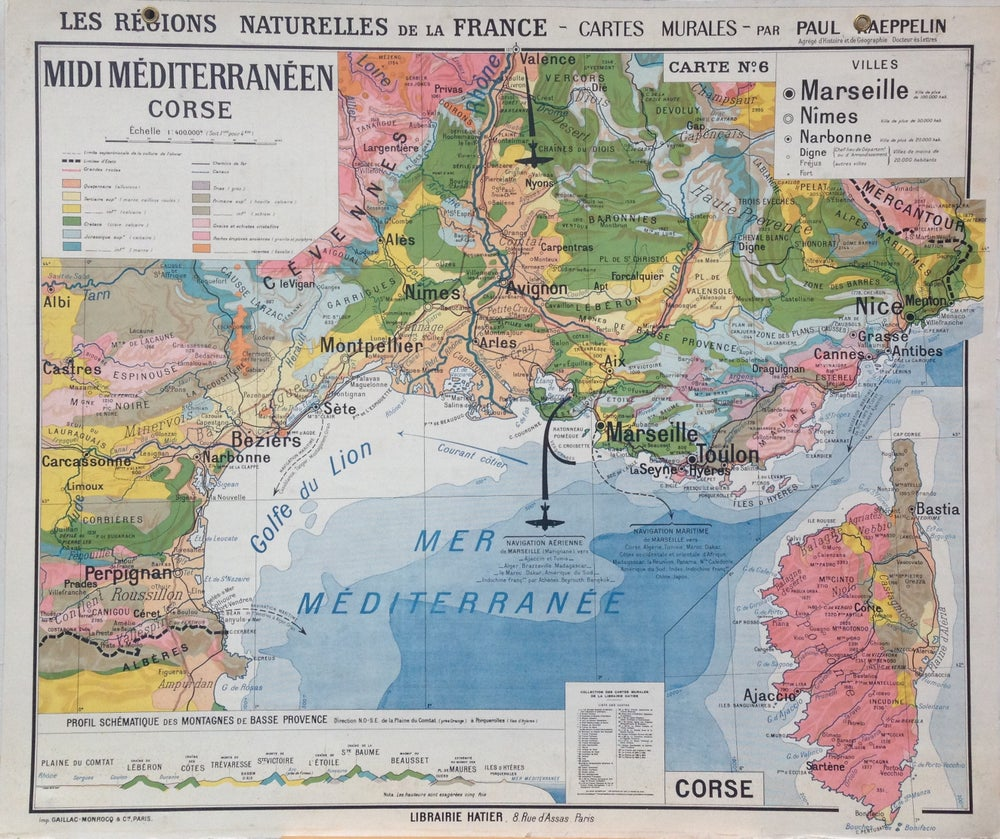 Image of 1960s Map of the Mediterranean.