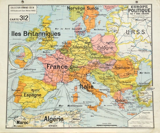 Image of 1960s Political Map of Europe