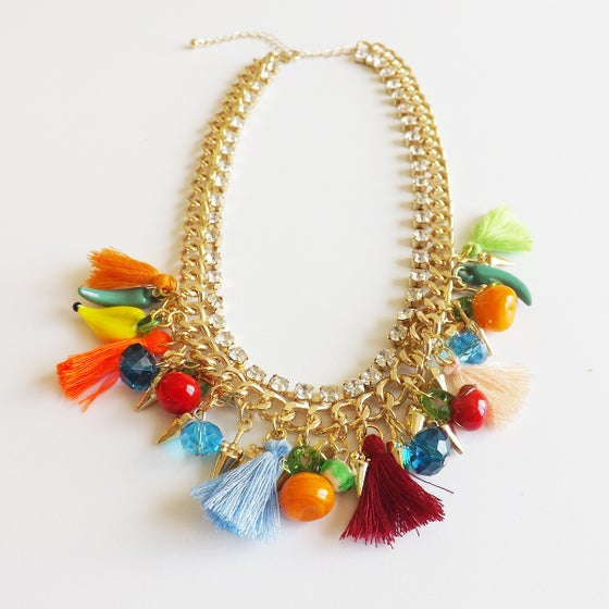 Image of Mini Tassle Mulitcolor Gold Chain