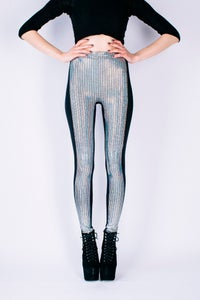 Image of NICO Leggings in SILVER HOLOGRAPHIC DISCOBALL