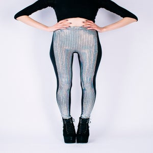 Image of HOLOGRAPHIC DISCO BALL PANELLED LEGGINGS...