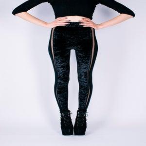 Image of BLACK CRUSHED VELVET LEGGINGS WITH SHEER INSERTS