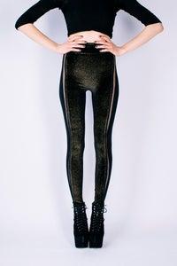 Image of ALINA Leggings in Limited Edition BLACK, GOLD GLITTER VELVET