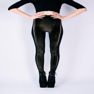 Image of GOLD GLITTER, BLACK VELVET LEGGINGS WITH SHEER INSERTS