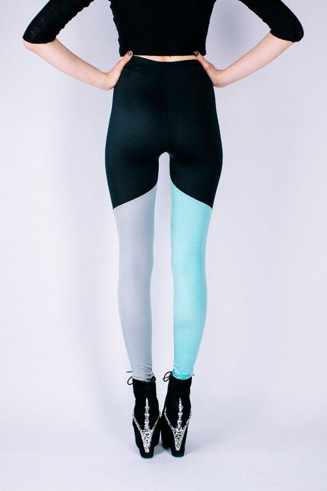 Image of KAI Leggings in BLACK/GREY/MINT GREEN