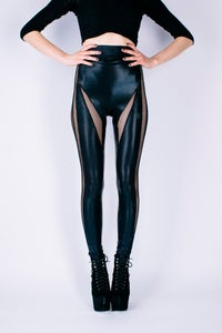 Image of DRACUL PANELLED LEGGINGS IN BLACK LEATHER LOOK