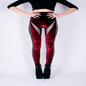 Image of DRACUL PANELLED LEGGINGS IN BLOOD VELVET