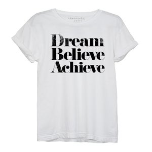 Image of DREAM BELIEVE ACHIEVE Tee -White