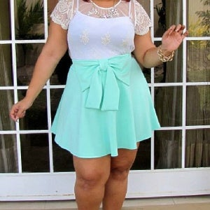Image of Plus size skater skirt with bow