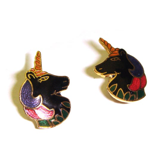 Image of Vintage Enamel Unicorn Earrings