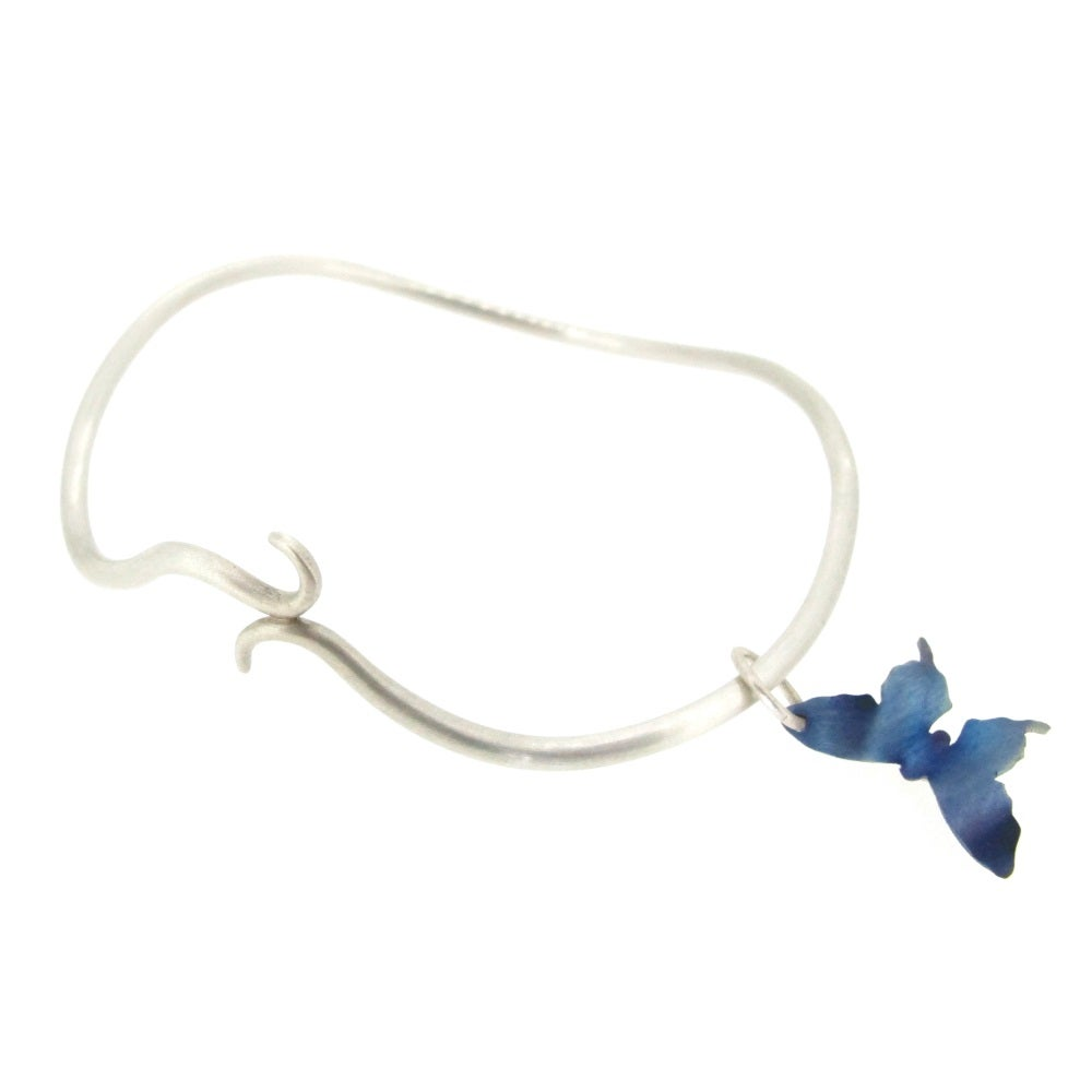 Image of Springtime Butterfly twisting vine charm bangle