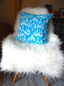 Image of PURE COTTON BLUE IKAT INDIAN KANTHA CUSHION 40CM