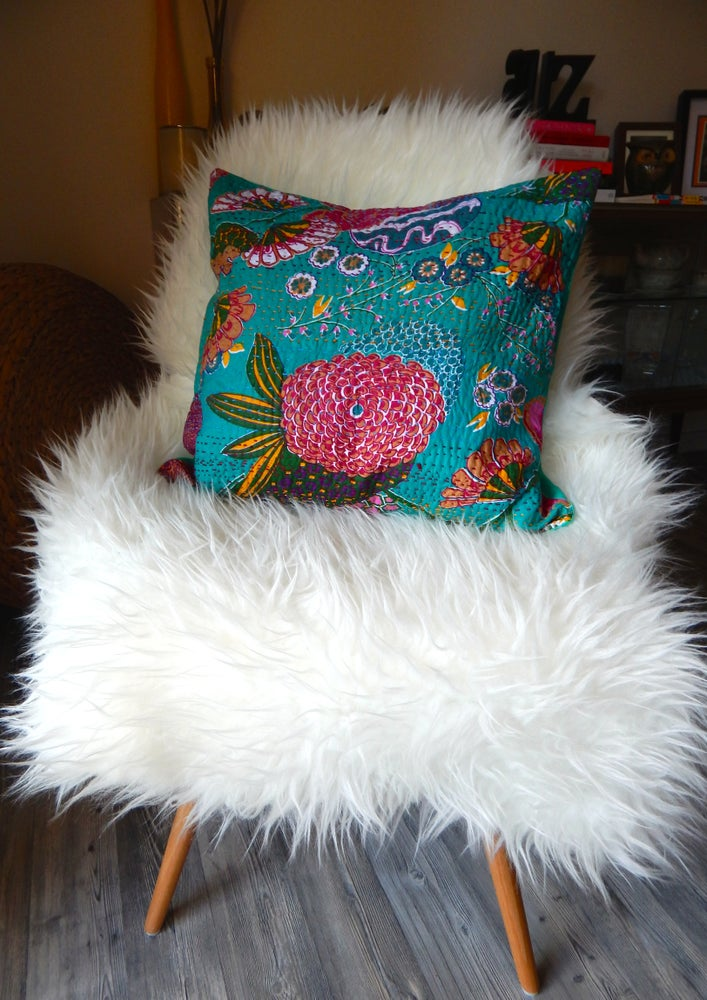 Image of PURE COTTON TURQUOISE INDIAN KANTHA CUSHION 40CM